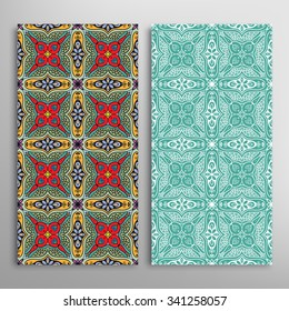 Vertical abstract seamless patterns set with hand drawn geometric texture for Wedding, Bridal, Valentine's day or Birthday Invitations, fabric or paper print. Isolated vector collection