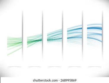 Vertical abstract swoosh line flyers collection speed wave layout in green and blue. Vector illustration