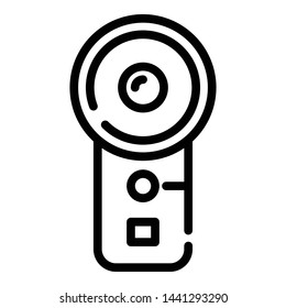 Vertical action cam icon. Outline vertical action cam vector icon for web design isolated on white background