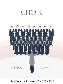 Vertical advertising poster of performance classical choir. Man and woman singers together with conductor. Colorful vector illustration in flat style with lettering.