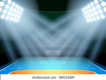 Vertical Background for posters night handball arena in the spotlight. Editable Vector Illustration.