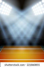 Vertical Background for posters night volleyball stadium in the spotlight. Editable Vector Illustration.