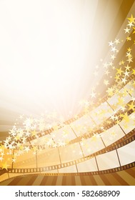 vertical background with retro filmstrip and golden stars. vector illustration