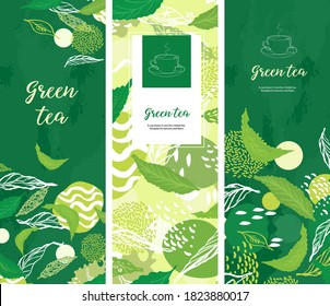 Vertical background for tea design. Tea shop. A cup drawn in one line. Green bannerSet of vertical banners.