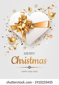 Vertical banner with golden and silver Christmas symbols and text. Christmas decor, gift, ribbons and other festive elements on blue background.