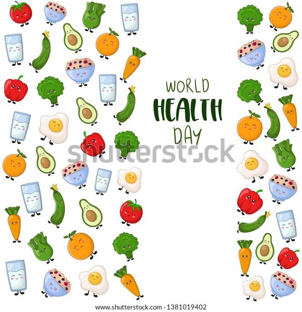 Vertical Banner Health Day Kawaii Cartoon Stock Vector Royalty Free 1381019402