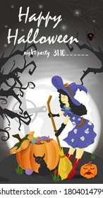 Vertical banner for holiday design on the theme of all saints eve Halloween, a Witch with a broom stands near a pumpkin on a moon background, black gradient background, flat vector illustration