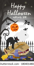 Vertical banner for holiday design, on the theme of all saints eve Halloween, Black cat sizzles standing on a coffin, on the background of the moon, black gradient background, flat vector illustration