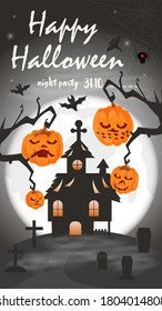 Vertical banner for holiday design, on the theme of all saints eve Halloween, Old house in the cemetery on the background of the moon, black gradient background, flat vector illustration