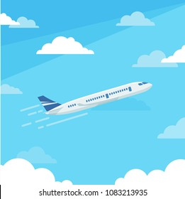 Vertical banner with the image of an airplane flying up against the sky
