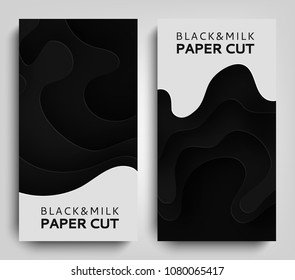 Vertical Banner Paper art cartoon abstract waves. Paper carve background with milk. Dairy products modern origami design template. Paper cut background. Vector illustration
