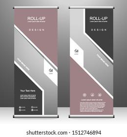 Vertical banner roll up template design, for brochure, business, flyer, infographics. modern x-banner and flag-banner advertising. vector illustration
