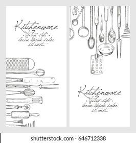 Vertical banner set. Hand drawn sketch with kitchen tools. Background template for design. Vintage vector illustration.