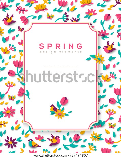 Vertical banner with spring cute 3d paper cut design elements and square frame. Vector illustration. Floral natural shapes, flowers, berries and leaves. Pink tulips, sparrow bird and butterfly.