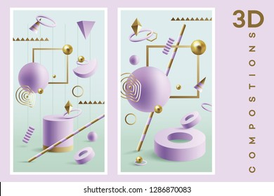 Vertical banners, abstract 3d render of geometric shapes in purple and golden colors isolated on green backdrop
