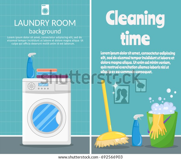 Vertical banners of Cleaning tools and Laundry with cartoon mop, bucket and vacuum cleaner illustration vector.