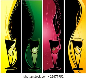 Vertical banners with cocktail glasses and fruits.