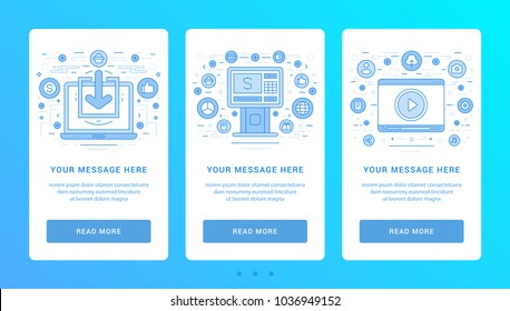 Vertical banners flat thin line icons vector illustration. Set symbols for website graphics and promotion materials.