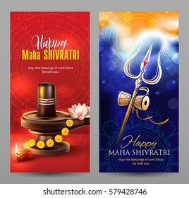 Vertical banners for Maha Shivratri, a Hindu festival celebrated of Lord Shiva. Vector set.