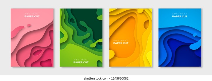 Vertical banners set with 3D abstract paper cut shapes. Vector design layout for business presentations, flyers, posters and invitations. Colorful carving art