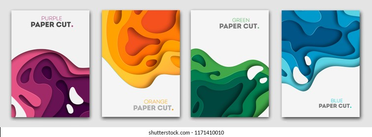 Vertical banners set with 3D abstract background and paper cut shapes. Vector design layout for business presentations, flyers, posters and invitations. Colorful carving art eps 110