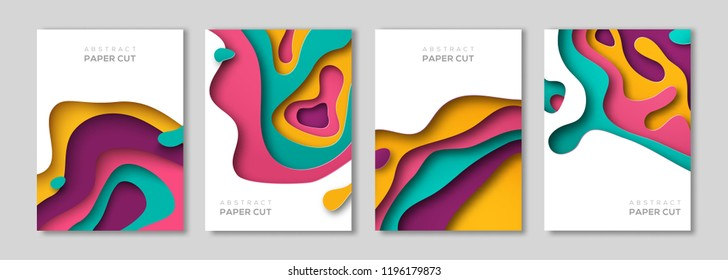Vertical banners set with 3D abstract background paper cut shapes. Vector design layout for business presentations, flyers, posters and invitations. Colorful carving art