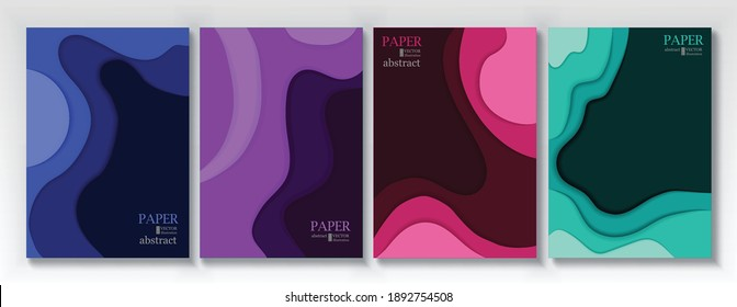 Vertical banners set with 3D abstract background and paper cut shapes. Vector design layout for business presentations, flyers, posters and invitations.