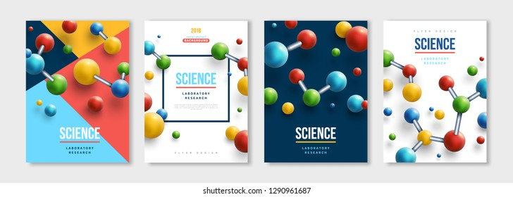 Vertical banners set with colorful 3d molecules. Vector design layout for business presentations, medical flyers, posters and science brochures. Molecular structure with spherical particles