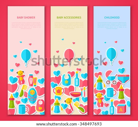 vertical banners set flat baby goods stock vector royalty free