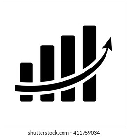 Vertical bar graph, diagram representing growth icon. Vector illustration