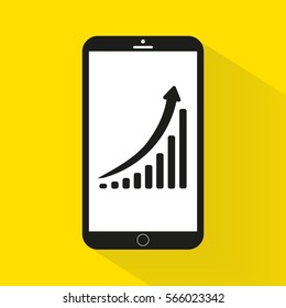 Vertical bar graph, diagram representing growth icon in mobile.