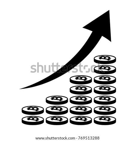 Vertical Bar Graph Diagram Representing Bitcoin Stock Vector