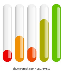 Vertical bars set at different levels. Level indicators.
