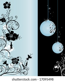 Vertical black and light blue background pattern with floral ornaments and hanging balls