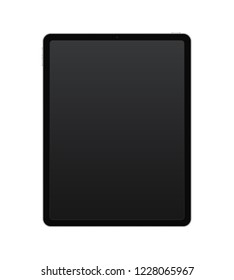 Vertical black tablet concept with empty screen for presentation, print and web. Vector quality illustration.