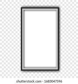 Vertical black thin photo frame.Realistic Frame picture or certificate.