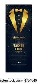Vertical Black Tie Event Invitation.  Elegant black  card with golden sparkles.  Black banner with businessman suit. Vector illustration