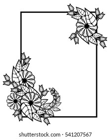Vertical black and white frame with abstract decorative flowers. Copy space. Vector clip art.