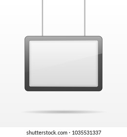 Vertical blank empty advertising billboard, outdoor lightbox hanging on metal bars