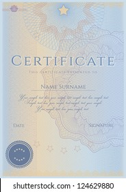 Vertical blue certificate of completion template with guilloche pattern (watermarks). This design usable for diploma, invitation, gift voucher, coupon, official or different awards. Vector