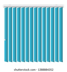 Vertical blue jalousie icon. Realistic illustration of vertical blue jalousie vector icon for web design isolated on white background
