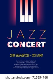 Vertical blue music jazz background with piano keys and text.   Vector illustration.
