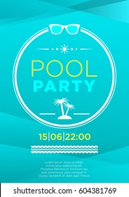 Vertical blue pool party background with graphic elements and text.  Vector illustration.