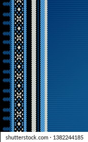 Vertical Blue Theme Sadu Weaving Middle Eastern Traditional Rug Texture