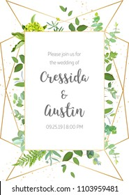Vertical botanical vector design frame. Baby blue eucalyptus, green hydrangea, wildflowers, forest fern, plants, leaves and herbs. Natural spring wedding card. Gold line art. All elements are isolated