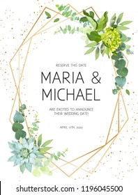 Vertical botanical vector design frame.Eucalyptus, succulents, green hydrangea, wildflowers, greenery, leaves, herbs. Natural spring wedding card. Gold line art. All elements are isolated and editable