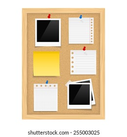 Vertical bulletin board with photo frames and paper notes, vector eps10 illustration