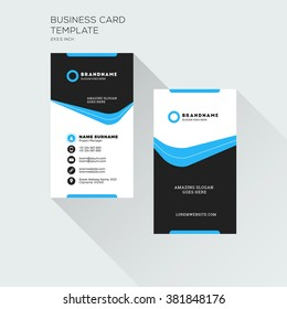 Vertical Business Card Print Template. Personal Visiting Card with company Logo. Black and Blue Colors. Clean Flat Design. Vector Illustration