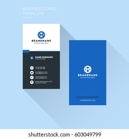 Vertical Business Card Print Template. Personal Visiting Card with Company Logo. Clean Flat Design. Vector Illustration