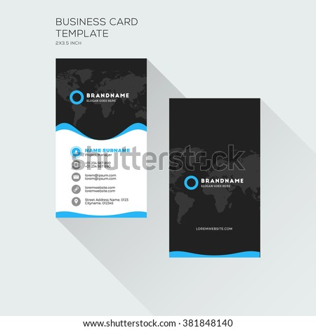 Vertical business card print template personal stock vector royalty vertical business card print template personal visiting card with company logo black and blue flashek Image collections